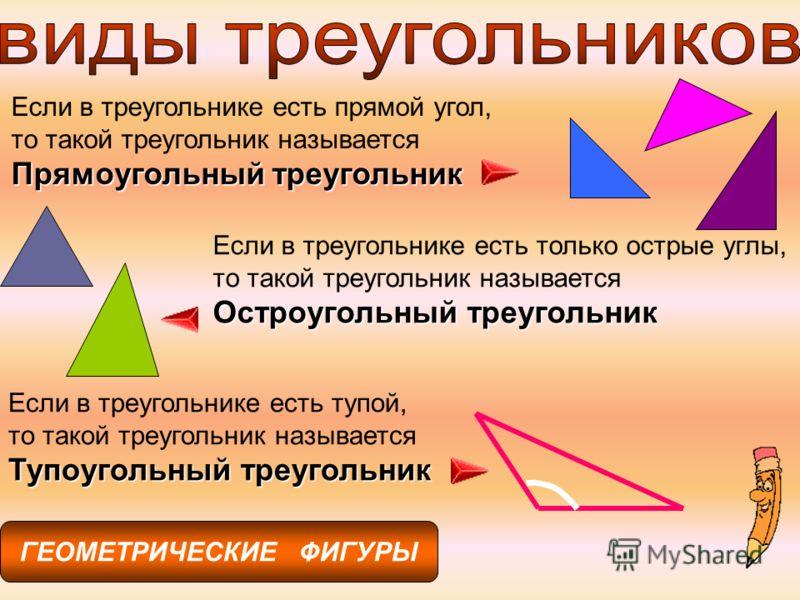 ГЕОМЕТРИЧЕСКИЕ ФИГУРЫ Если в треугольнике есть прямой угол, то такой треугольник называется Прямоугольный треугольник Если в треугольнике есть только острые углы, то такой треугольник называется Остроугольный треугольник Если в треугольнике есть тупо