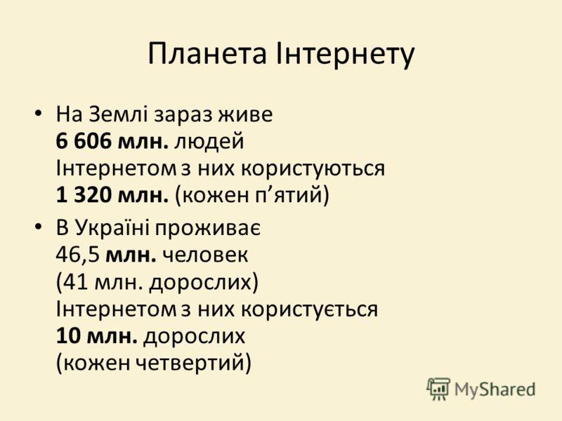 Планета Інтернету На Землі зараз живе 6 606 млн. людей Інтернетом з них користуються 1 320 млн. (кожен пятий) В Україні проживає 46,5 млн. человек (41 млн. дорослих) Інтернетом з них користується 10 млн. дорослих (кожен четвертий)