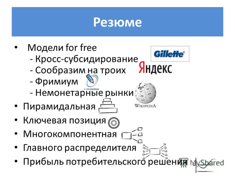 Резюме Модели for free - Кросс-субсидирование - Сообразим на троих - Фримиум - Немонетарные рынки Пирамидальная Ключевая позиция Многокомпонентная Главного распределителя Прибыль потребительского решения