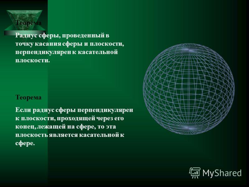Теорема Радиус сферы, проведенный в точку касания сферы и плоскости, перпендикулярен к касательной плоскости. Теорема Если радиус сферы перпендикулярен к плоскости, проходящей через его конец, лежащей на сфере, то эта плоскость является касательной к