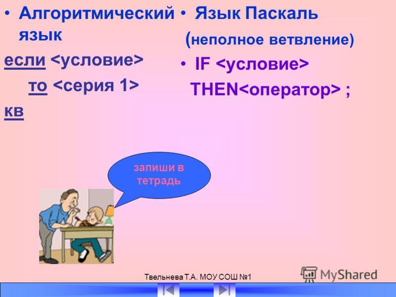 Твельнева Т.А. МОУ СОШ 1 Алгоритмический язык если то кв Язык Паскаль ( неполное ветвление) IF THEN ; запиши в тетрадь