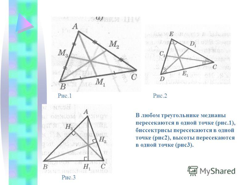 В любом треугольнике медианы пересекаются в одной точке (рис.1), биссектрисы пересекаются в одной точке (рис2), высоты пересекаются в одной точке (рис3). Рис.1Рис.2 Рис.3