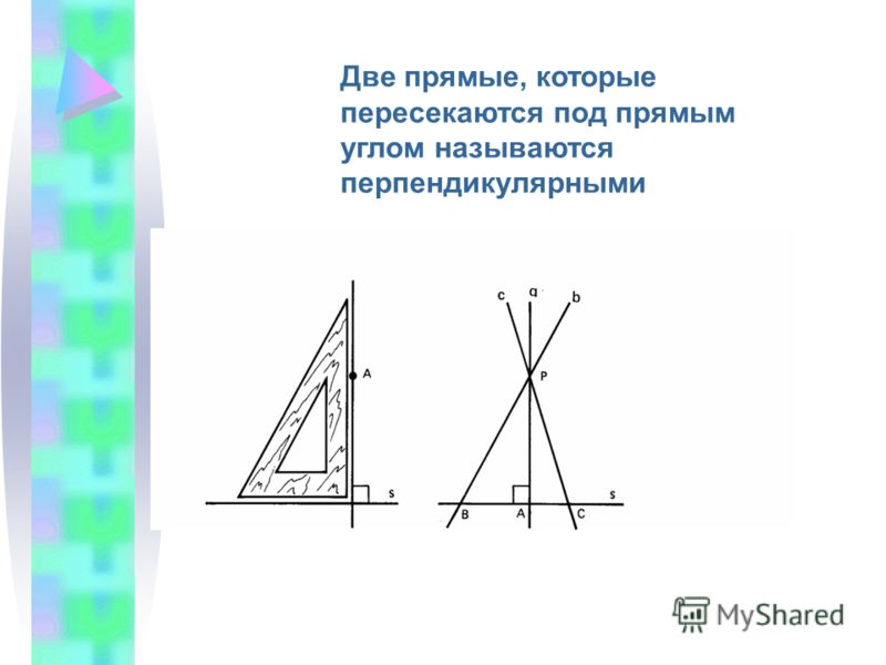 Две прямые, которые пересекаются под прямым углом называются перпендикулярными