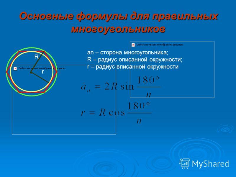 Окружность и правильные многоугольники Виды правильных многоугольников Свойства правильного многоугольника. Правильный многоугольник является вписанным в окружность и описанным около окружности, при этом центры этих окружностей совпадают Центр правил