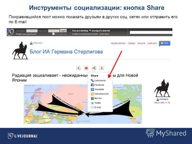 Инструменты социализации: кнопка Share Понравившийся пост можно показать друзьям в других соц. сетях или отправить его по E-mail