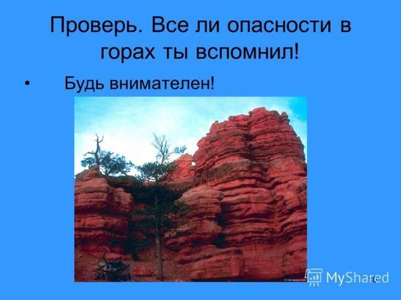 10 Проверь. Все ли опасности в горах ты вспомнил! Будь внимателен!