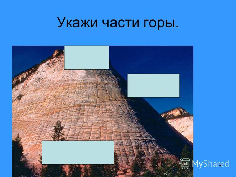 4 Укажи части горы.