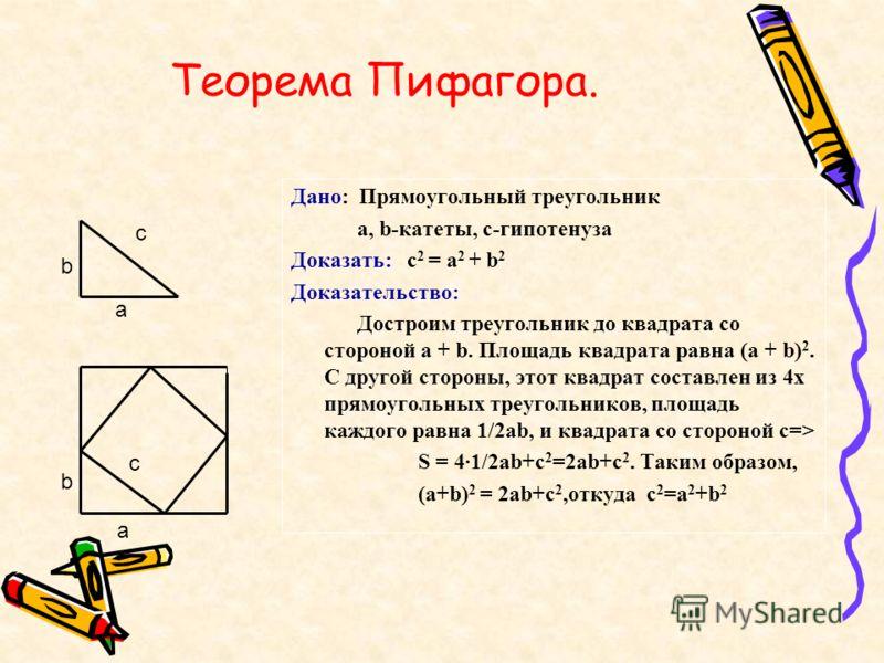 Теорема Пифагора. Дано: Прямоугольный треугольник a, b-катеты, c-гипотенуза Доказать: c 2 = a 2 + b 2 Доказательство: Достроим треугольник до квадрата со стороной a + b. Площадь квадрата равна (a + b) 2. C другой стороны, этот квадрат составлен из 4х