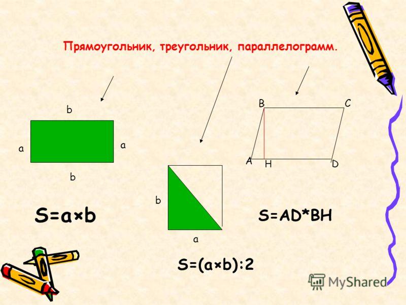 Прямоугольник, треугольник, параллелограмм. а b D A BC b a S=a×b S=AD*BH b a S=(a×b):2 H