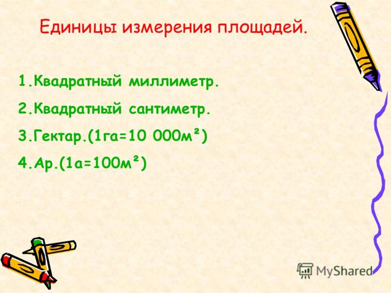 Единицы измерения площадей. 1.Квадратный миллиметр. 2.Квадратный сантиметр. 3.Гектар.(1га=10 000м²) 4.Ар.(1а=100м²)