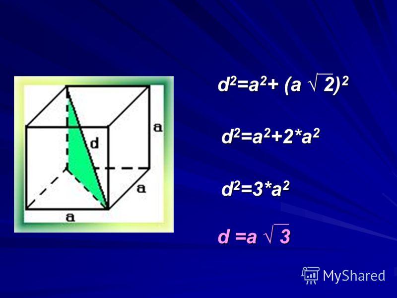 d 2 =a 2 + (a 2) 2 d 2 =a 2 + (a 2) 2 d 2 =a 2 +2*a 2 d 2 =3*a 2 d =a 3 d =a 3
