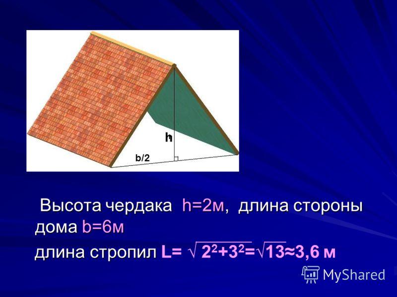 Высота чердака h=2м, длина стороны дома b=6м Высота чердака h=2м, длина стороны дома b=6м длина стропил длина стропил L= 2 2 +3 2 =133,6 м b/2 h