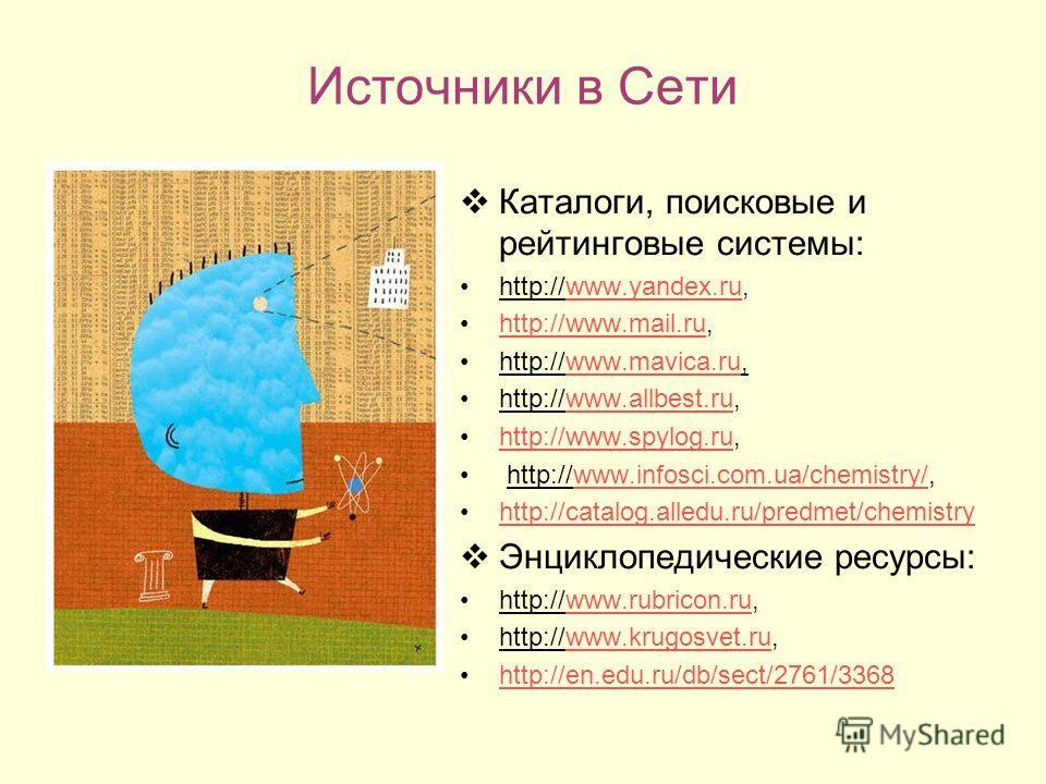 Источники в Сети Каталоги, поисковые и рейтинговые системы: http://www.yandex.ru,www.yandex.ru http://www.mail.ru,http://www.mail.ru http://www.mavica.ru,www.mavica.ru http://www.allbest.ru,www.allbest.ru http://www.spylog.ru,http://www.spylog.ru htt
