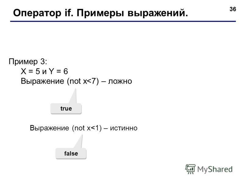 36 Оператор if. Примеры выражений. Пример 3: X = 5 и Y = 6 Выражение (not x