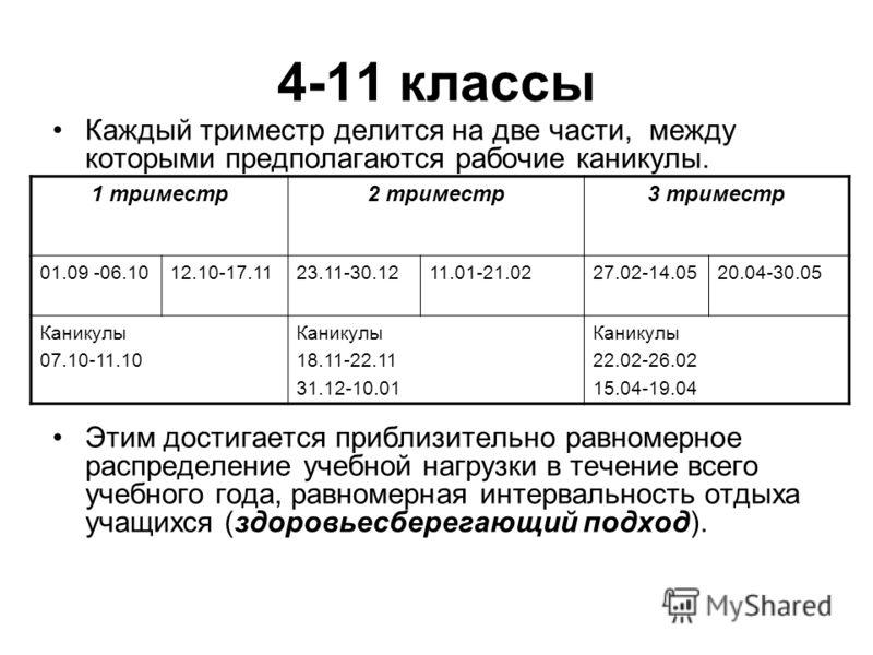 4-11 классы Каждый триместр делится на две части, между которыми предполагаются рабочие каникулы. Этим достигается приблизительно равномерное распределение учебной нагрузки в течение всего учебного года, равномерная интервальность отдыха учащихся (зд