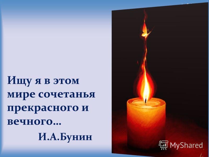 Ищу я в этом мире сочетанья прекрасного и вечного… И.А.Бунин