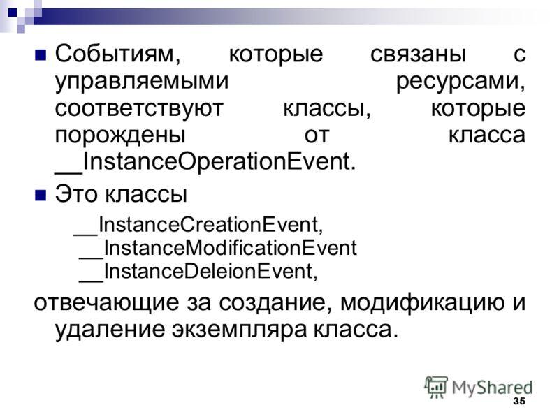 35 Событиям, которые связаны с управляемыми ресурсами, соответствуют классы, которые порождены от класса __InstanceOperationEvent. Это классы __InstanceCreationEvent, __InstanceModificationEvent __InstanceDeleionEvent, отвечающие за создание, модифик