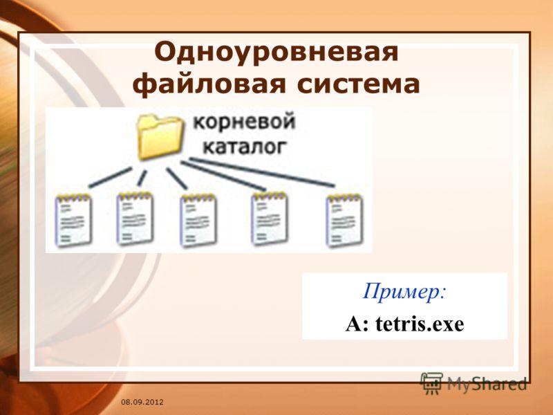 08.09.2012 Одноуровневая файловая система Пример: A: tetris.exe