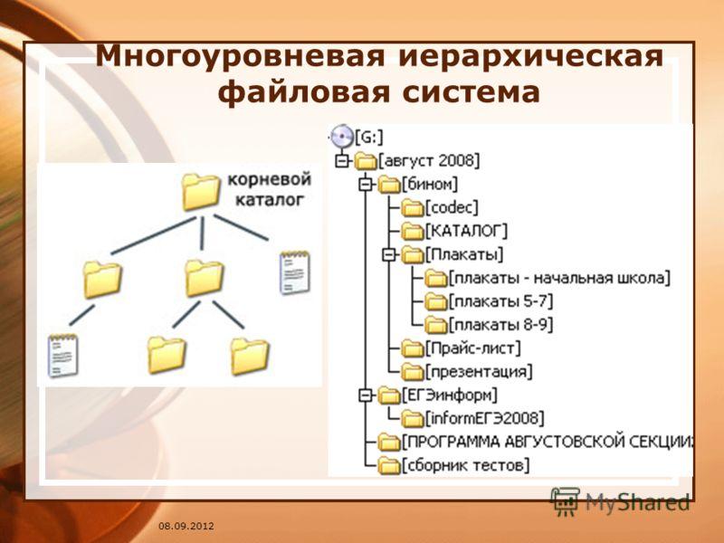 08.09.2012 Многоуровневая иерархическая файловая система