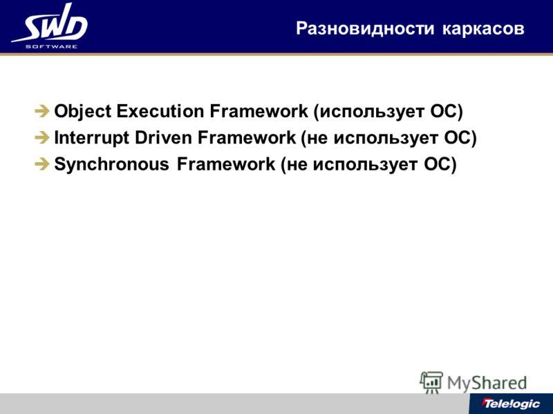 Разновидности каркасов Object Execution Framework (использует ОС) Interrupt Driven Framework (не использует ОС) Synchronous Framework (не использует ОС)