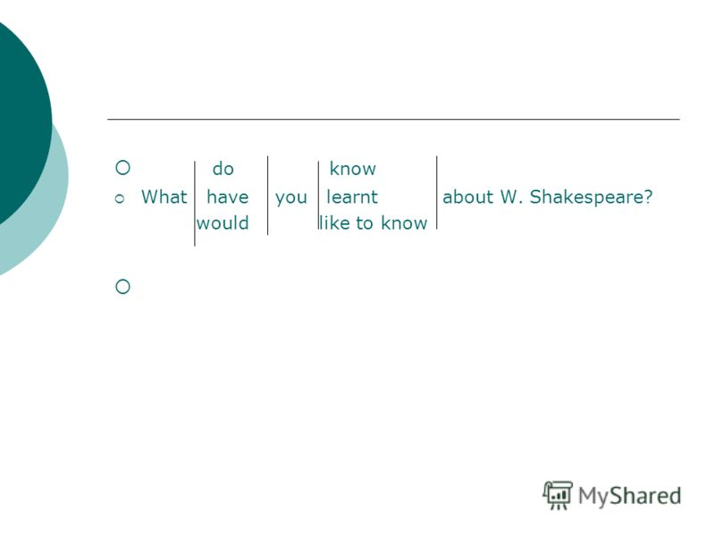 do know What have you learnt about W. Shakespeare? would like to know