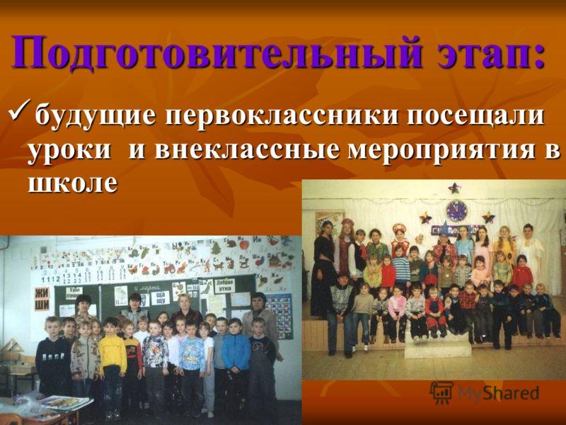 Подготовительный этап: будущие первоклассники посещали уроки и внеклассные мероприятия в школе будущие первоклассники посещали уроки и внеклассные мероприятия в школе