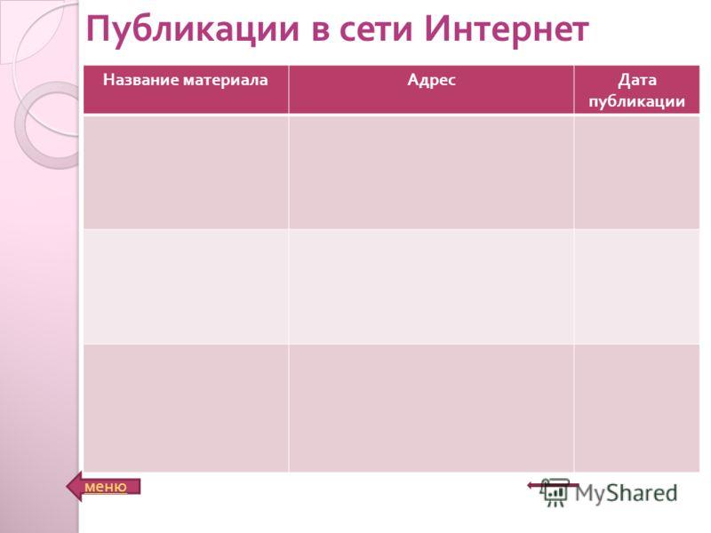 Название материалаАдресДата публикации меню Публикации в сети Интернет