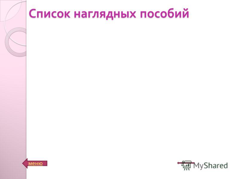 Список наглядных пособий меню