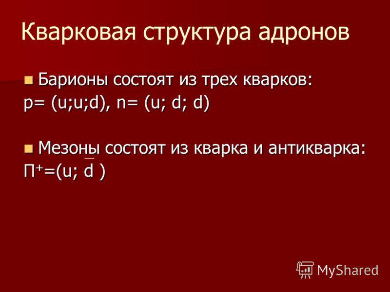 Барионы состоят из трех кварков: Барионы состоят из трех кварков: p= (u;u;d), n= (u; d; d) Мезоны состоят из кварка и антикварка: Мезоны состоят из кварка и антикварка: П + =(u; d ) Кварковая структура адронов