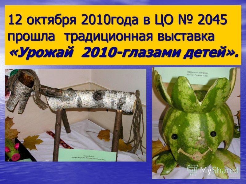 12 октября 2010года в ЦО 2045 прошла традиционная выставка «Урожай 2010-глазами детей».