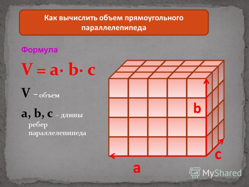 Формула V = a b c V - объем a, b, c – длины ребер параллелепипеда Как вычислить объем прямоугольного параллелепипеда a b c