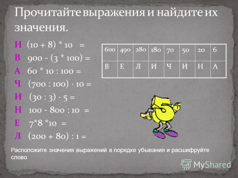 И (10 + 8) * 10 = В 900 - (3 * 100) = А 60 * 10 : 100 = Ч (700 : 100) · 10 = И (30 : 3) · 5 = Н 100 - 800 : 10 = Е 7*8 *10 = Л (200 + 80) : 1 = Расположите значения выражений в порядке убывания и расшифруйте слово 600490280 1807050206 ВЕЛИЧИНА
