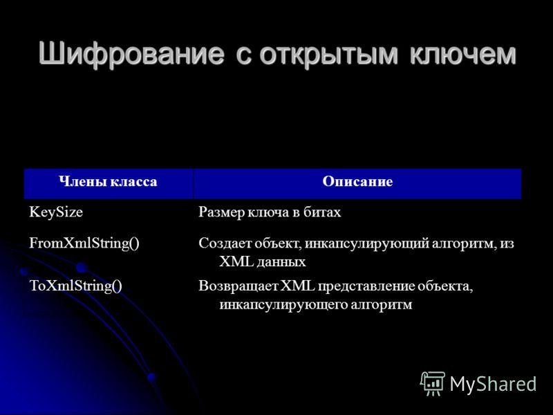 Шифрование с открытым ключем Члены классаОписание KeySizeРазмер ключа в битах FromXmlString()Создает объект, инкапсулирующий алгоритм, из XML данных ToXmlString()Возвращает XML представление объекта, инкапсулирующего алгоритм