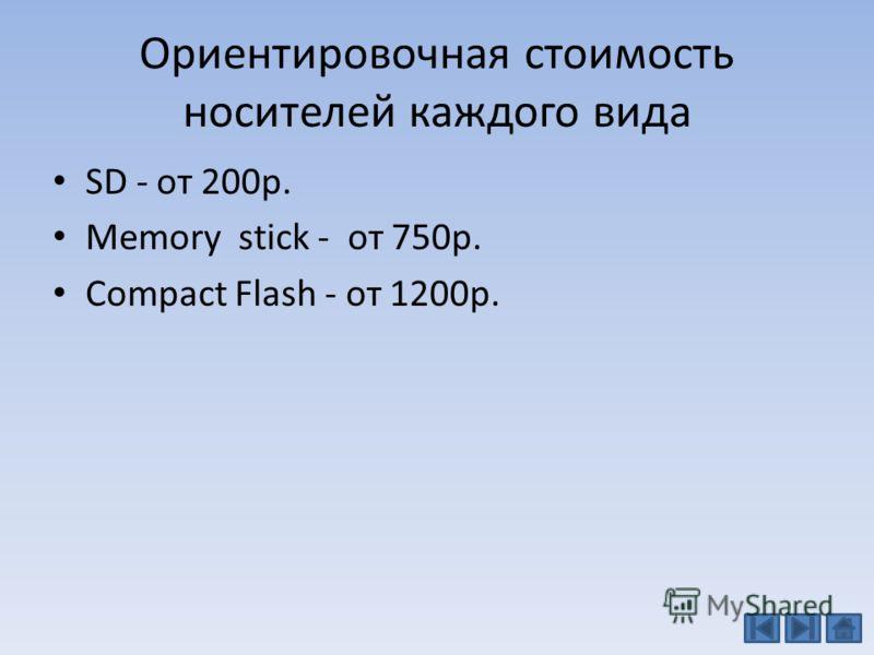 Ориентировочная стоимость носителей каждого вида SD - от 200р. Memory stick - от 750р. Сompact Flash - от 1200р.