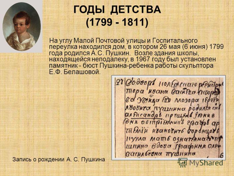 ГОДЫ ДЕТСТВА (1799 - 1811) На углу Малой Почтовой улицы и Госпитального переулка находился дом, в котором 26 мая (6 июня) 1799 года родился А.С. Пушкин. Возле здания школы, находящейся неподалеку, в 1967 году был установлен памятник - бюст Пушкина-ре
