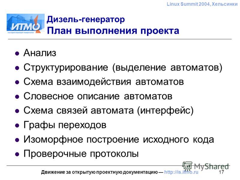 17 Linux Summit 2004, Хельсинки Движение за открытую проектную документацию http://is.ifmo.ru Дизель-генератор План выполнения проекта Анализ Структурирование (выделение автоматов) Схема взаимодействия автоматов Словесное описание автоматов Схема свя