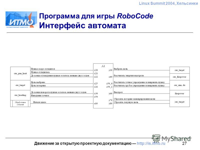 27 Linux Summit 2004, Хельсинки Движение за открытую проектную документацию http://is.ifmo.ru Программа для игры RoboCode Интерфейс автомата