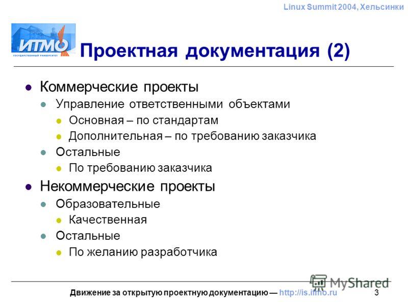 3 Linux Summit 2004, Хельсинки Движение за открытую проектную документацию http://is.ifmo.ru Проектная документация (2) Коммерческие проекты Управление ответственными объектами Основная – по стандартам Дополнительная – по требованию заказчика Остальн