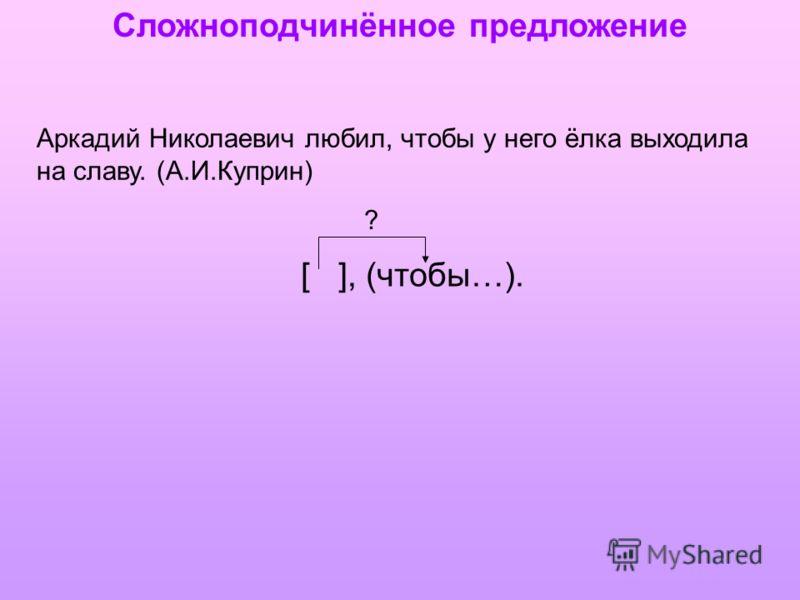 Сложноподчинённое предложение Аркадий Николаевич любил, чтобы у него ёлка выходила на славу. (А.И.Куприн) [ ], (чтобы…). ?
