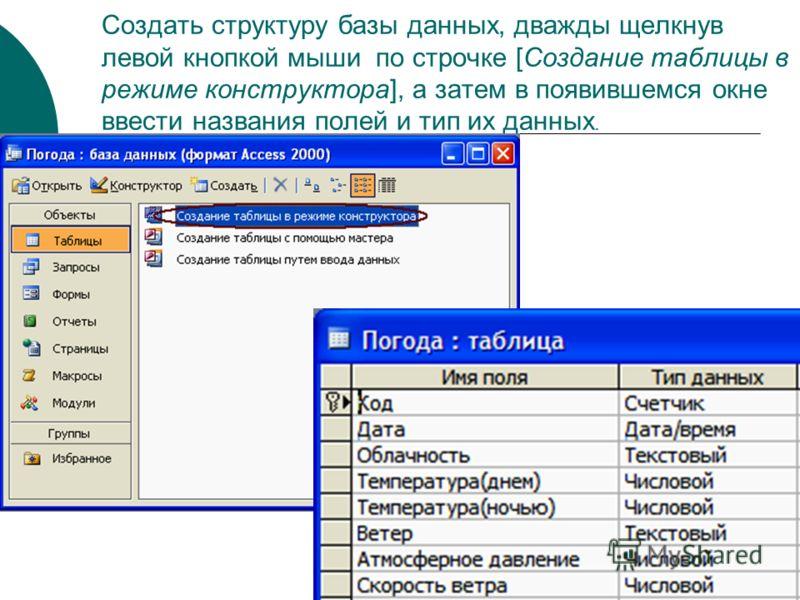 Создать структуру базы данных, дважды щелкнув левой кнопкой мыши по строчке [Создание таблицы в режиме конструктора], а затем в появившемся окне ввести названия полей и тип их данных.