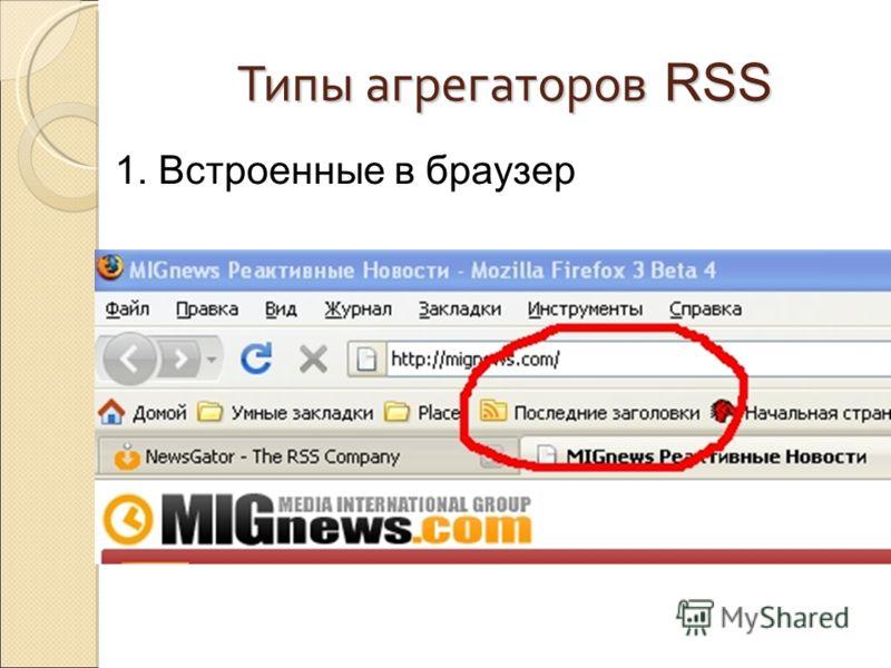 Типы агрегаторов RSS 1. Встроенные в браузер