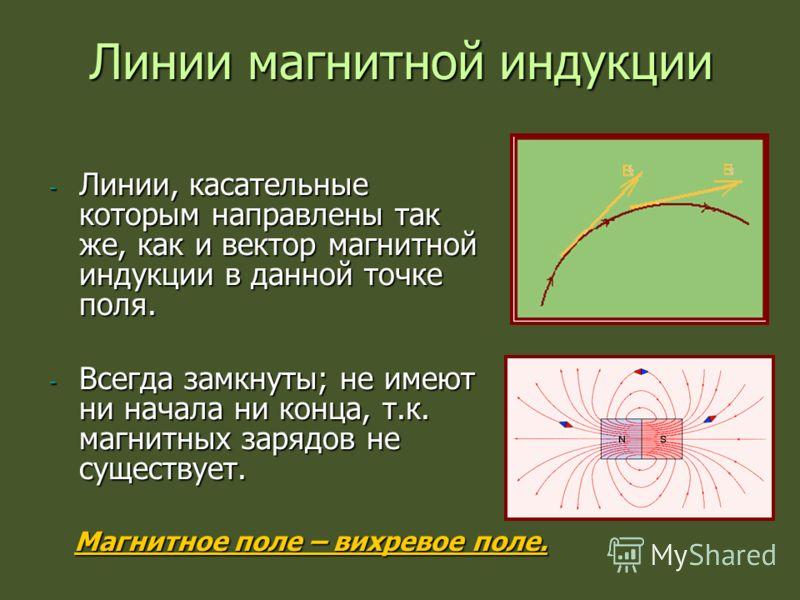 Линии магнитной индукции - Линии, касательные которым направлены так же, как и вектор магнитной индукции в данной точке поля. - Всегда замкнуты; не имеют ни начала ни конца, т.к. магнитных зарядов не существует. Магнитное поле – вихревое поле.