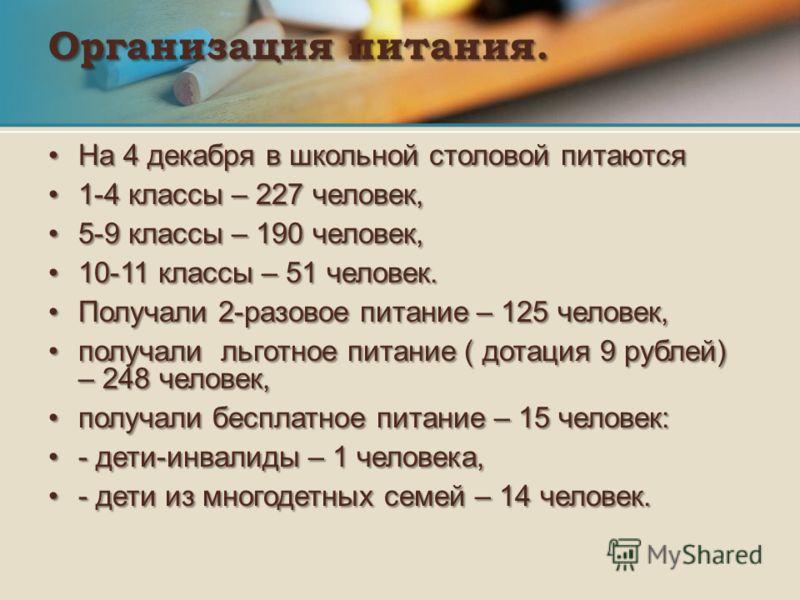 Организация питания. На 4 декабря в школьной столовой питаютсяНа 4 декабря в школьной столовой питаются 1-4 классы – 227 человек,1-4 классы – 227 человек, 5-9 классы – 190 человек,5-9 классы – 190 человек, 10-11 классы – 51 человек.10-11 классы – 51
