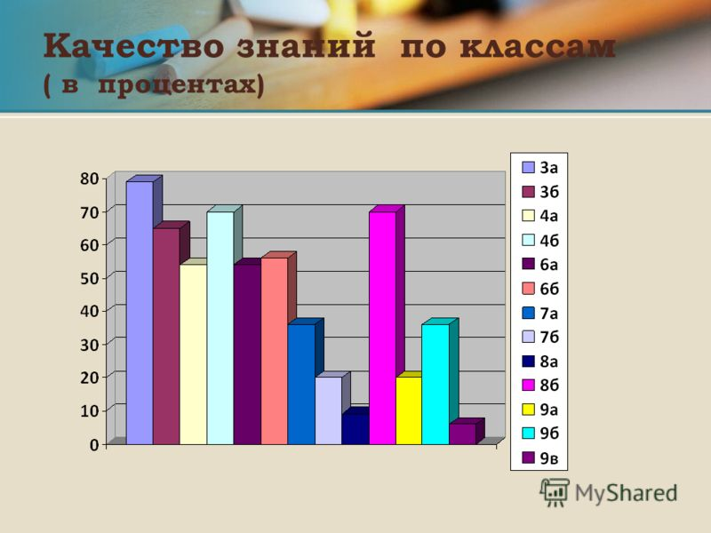 Качество знаний по классам ( в процентах)