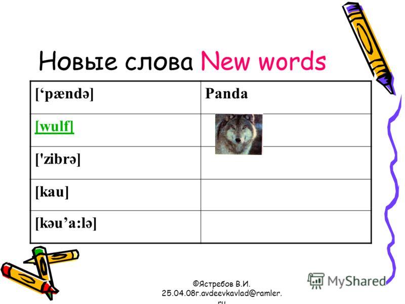 ©Ястребов В.И. 25.04.08г.avdeevkavlad@ramler. ru Новые слова New words [pændә]Panda [wulf] ['zibrә] [kau] [kәua:lә]