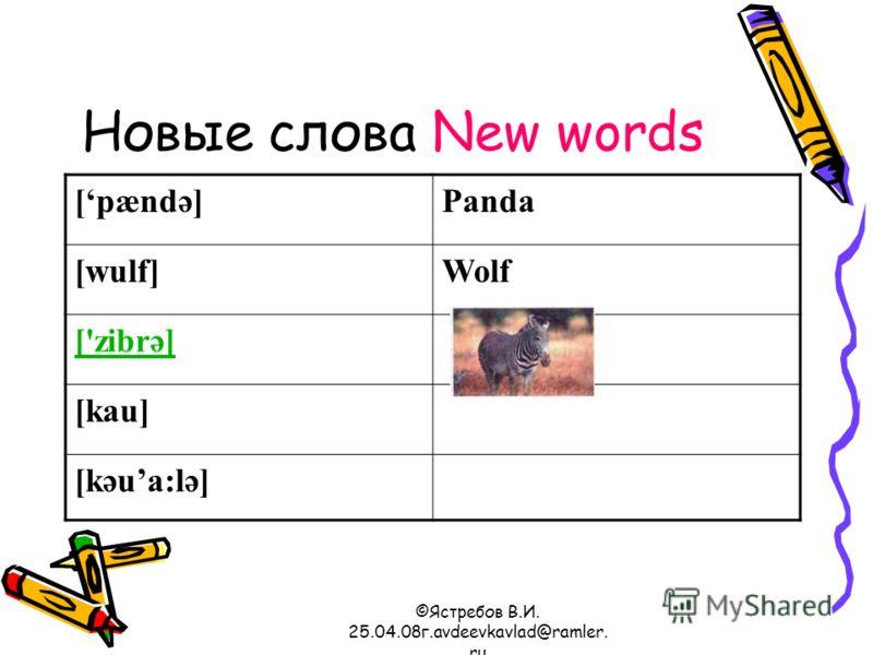©Ястребов В.И. 25.04.08г.avdeevkavlad@ramler. ru Новые слова New words [pændә]Panda [wulf]Wolf ['zibrә] [kau] [kәua:lә]