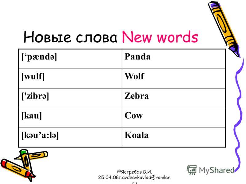 ©Ястребов В.И. 25.04.08г.avdeevkavlad@ramler. ru Новые слова New words [pændә]Panda [wulf]Wolf ['zibrә]Zebra [kau]Cow [kәua:lә]Koala