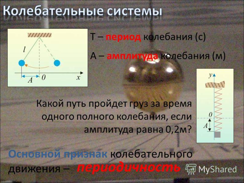 T – период колебания (с) А – амплитуда колебания (м) Какой путь пройдет груз за время одного полного колебания, если амплитуда равна 0,2м? Основной признак колебательного движения – периодичность