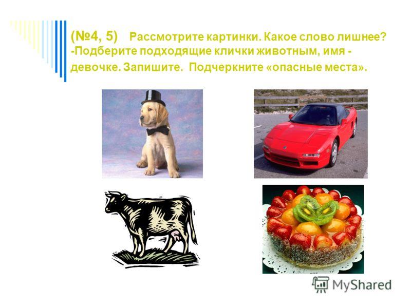 (4, 5) Рассмотрите картинки. Какое слово лишнее? -Подберите подходящие клички животным, имя - девочке. Запишите. Подчеркните «опасные места».