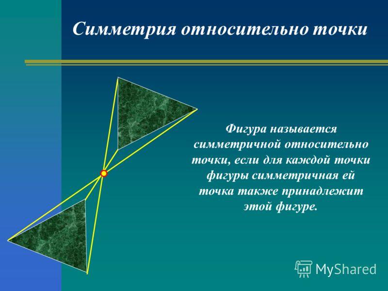 Симметрия относительно точки Фигура называется симметричной относительно точки, если для каждой точки фигуры симметричная ей точка также принадлежит этой фигуре.
